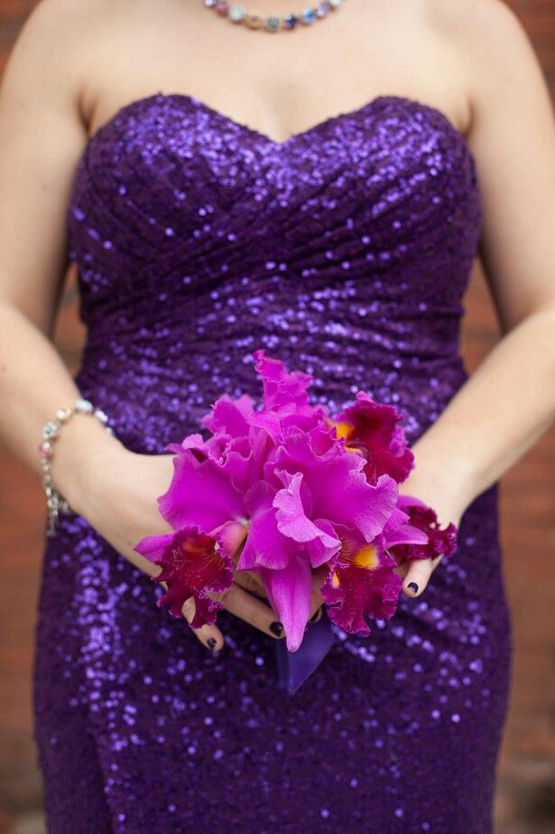 Bridesmaid's Petite Bouquet Of: Hot Pink/Magenta/Yellow Cattleya Orchids