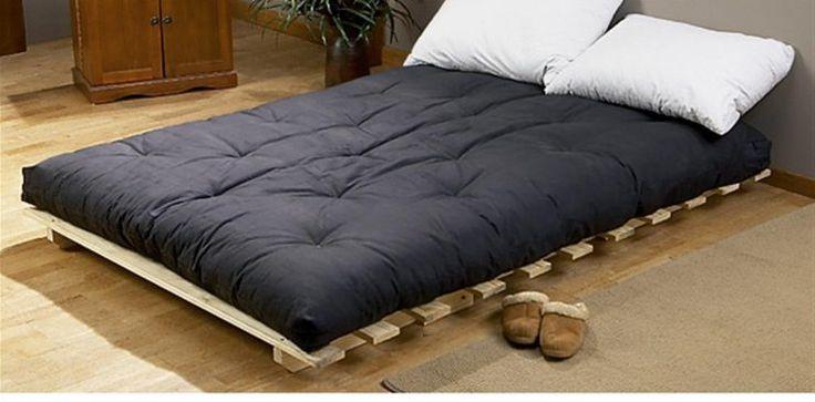 best queen futon black mattress with 2 white cushions                                                                                                                                                     More