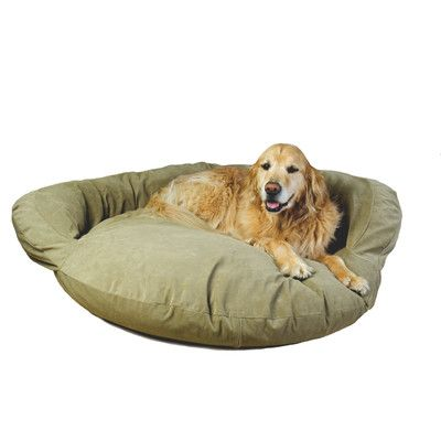 Found it at Wayfair - Velvet Microfiber Bolster Dog Bed in Sage