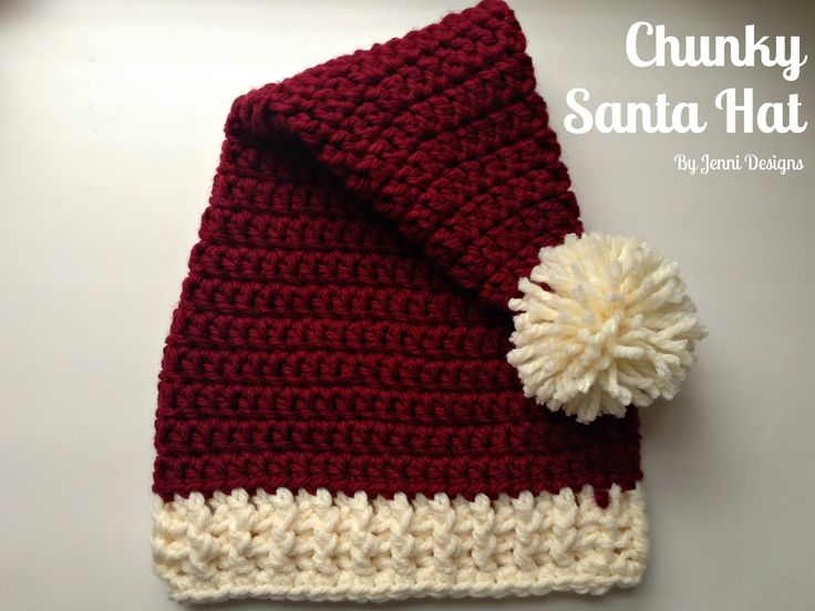 Free Crochet Pattern: Chunky Santa Hat in 4 sizes