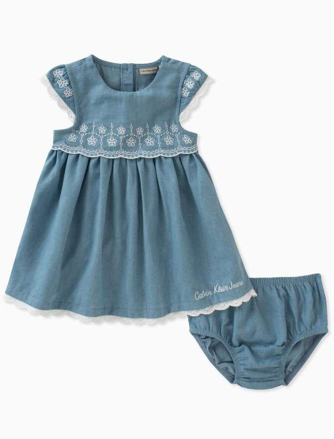 low priced 2f219 b8f9c Baby girls light denim lace dress + bloomers | children ...