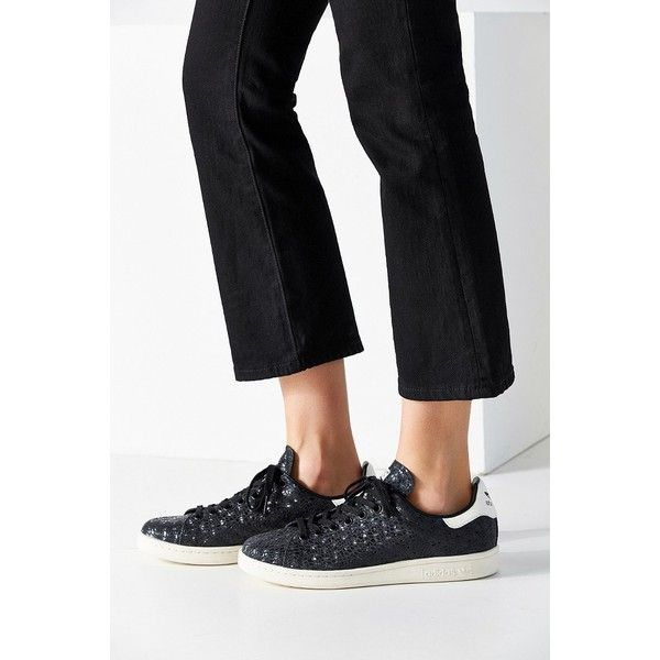 adidas Foil Snake Stan Smith Sneaker ($75) ❤ liked on Polyvore featuring shoes, sneakers, black, snakeskin shoes, snake sneakers, adidas sneakers, snake print sneakers and python sneakers