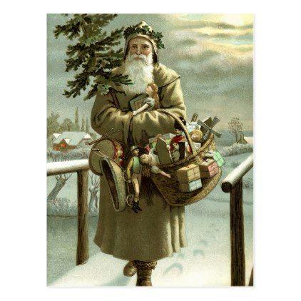 #Vintage Christmas Victorian Santa Claus with Toys Postcard - #Xmas #ChristmasEve Christmas Eve #Christmas #merry #xmas #family #kids #gifts #holidays #Santa