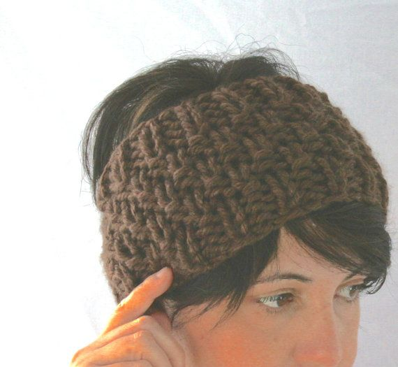 FASCIA ARCHETTO lana grossa maglia chunky chocolate di AloneMavi