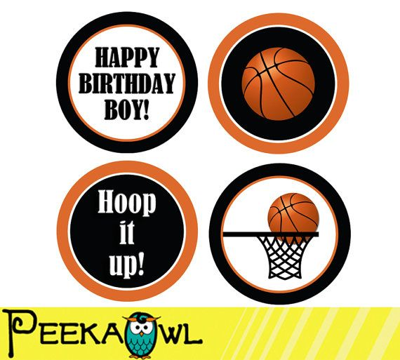 Instant Download Basketball Cupcake Toppers Printable