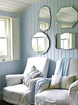 Powder-blue and white in a country-style theme. Reflects light. These elements in a Norwegian color palette would make a nice French/Scandinavian country great/living room.