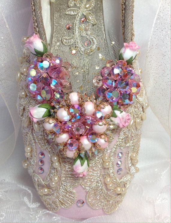 OOAK Spectacular Aurora themed decorated pointe shoe. Sleeping Beauty Ballet. Rose Adagio. Aurora's wedding. Sugar Plum Fairy. Ballet Gift.
