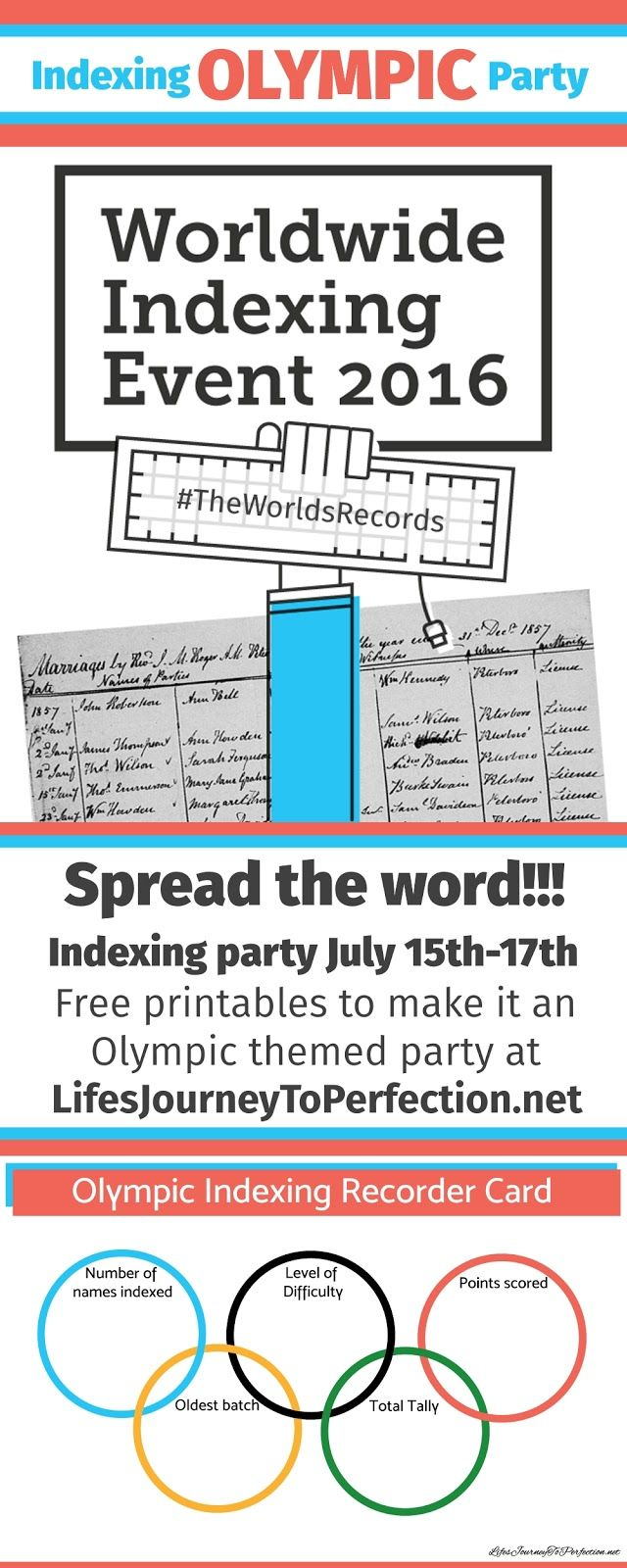 Life's Journey To Perfection: Indexing Olympic Party...A Worldwide Indexing Event!