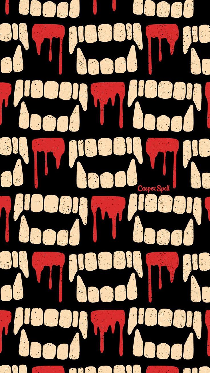 Vampire Teeth Repeat Pattern Wallpaper Halloween Cute