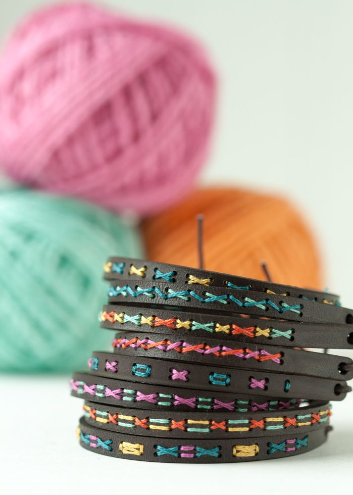 Modern cross stitch pattern, hand embroidered leather bracelet DIY kit.