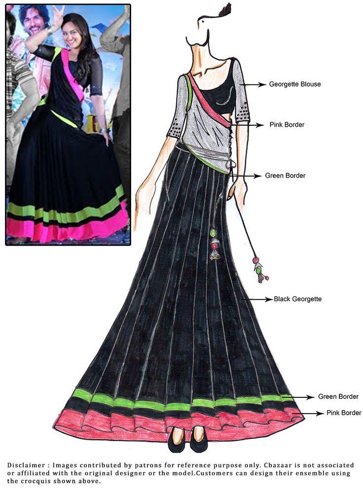 DIY Sonakshi R Rajkumar Black Lehenga Choli