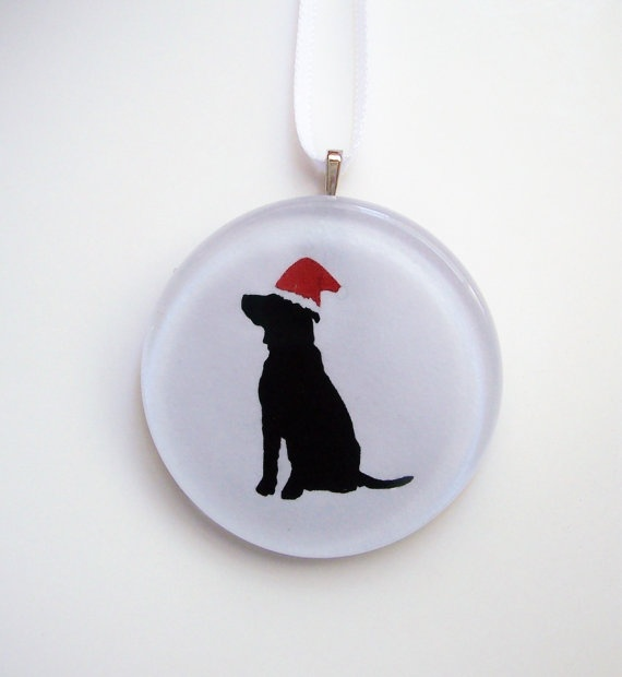 NEW  Santa Dog Ornament by tannerglass on Etsy, $12.50