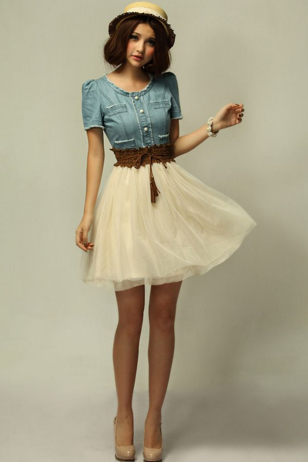 Vintage Skirts | Vintage Denim Dress with Contrast Mesh Skirt - OASAP.com