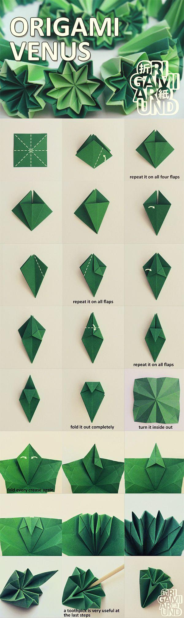 How to make an origami kusudama cactus part I. - folding the venus unit