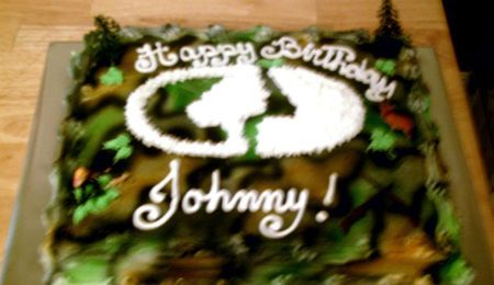 Turkey And Deer Hunting Cake This is a birthday cake I was asked to make. It's a sheet cake - half chocolate and half white cake. It...