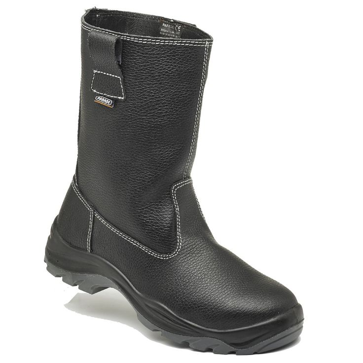 Parade Footwear Siroka Black Leather Fur Lined Mens Safety Rigger Boots