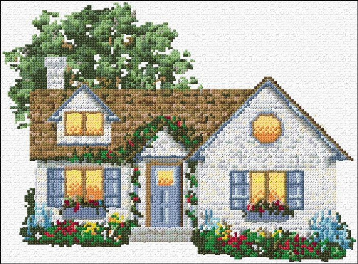 free cross stitch house