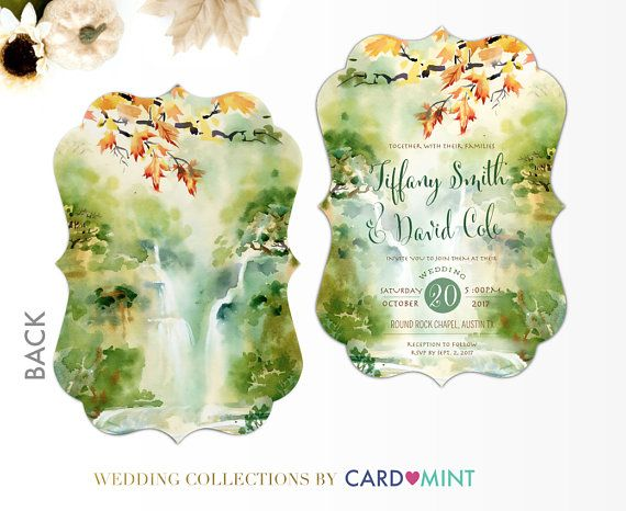 Fall Waterfall Wedding Invitations Set Package Green Fall Leaves painted water color watercolor Green Wedding Invitations Set