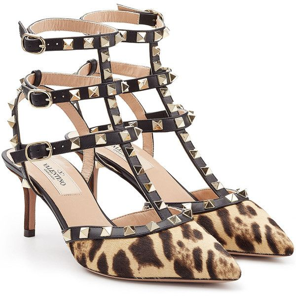 Valentino Rockstud Calf Hair Kitten Heel Pumps ($1,010) ❤ liked on Polyvore featuring shoes, pumps, animal print, heels, high heels, valentino, leopard pumps, black pointed-toe pumps, kitten heel pumps and ankle strap shoes