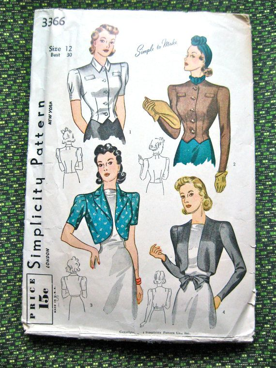 Vintage 1930s Simplicity 3366 sewing pattern.  Bust  by Fancywork, $23.00