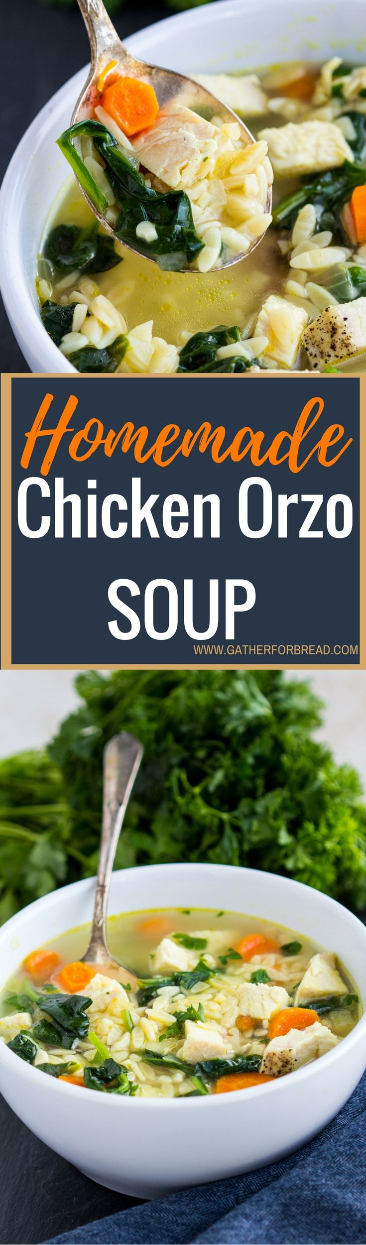 Homemade Chicken Orzo Soup - Homemade chicken orzo soup made with fresh spinach, cooked chicken and fresh Parmesan cheese for a comforting bowl. Perfect for winter nights dinner.