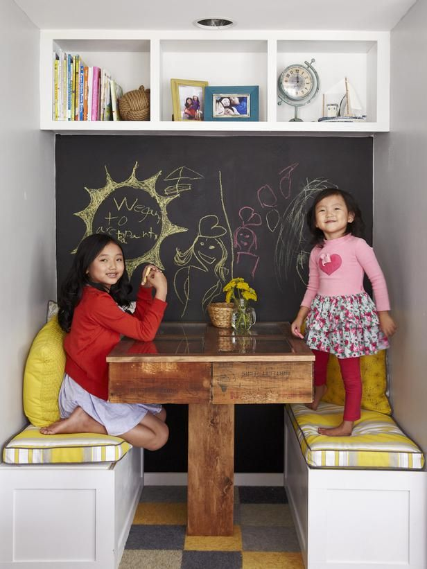 How fun is this kitchen nook with a chalkboard paint wall for the kids? #hgtvmagazine http://www.hgtv.com/kitchens/the-most-embarrassing-kitchen-in-america/pictures/page-10.html?soc=pinterest