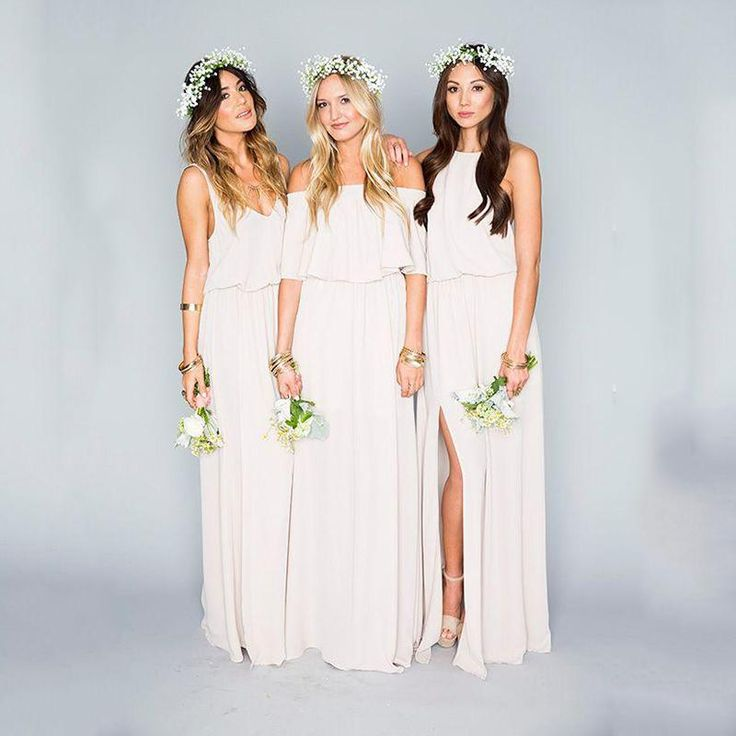 Sexy Split White Bridesmaid Dresses 2016 Three Style V Neck Bateau Halter Backless Floor Length Chiffon Maid Of Honor Gowns Prom Party Dress Discount Bridesmaid Dress Jr Bridesmaid Dress From Dmronline, $81.71  Dhgate.Com