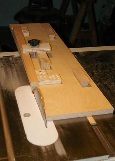 Table Saw Tapering Jig by CutNRun -- Homemade table saw tapering jig constructed from MDF, wooden runners, a carriage bolt, and a locking knob. http://www.homemadetools.net/homemade-table-saw-tapering-jig