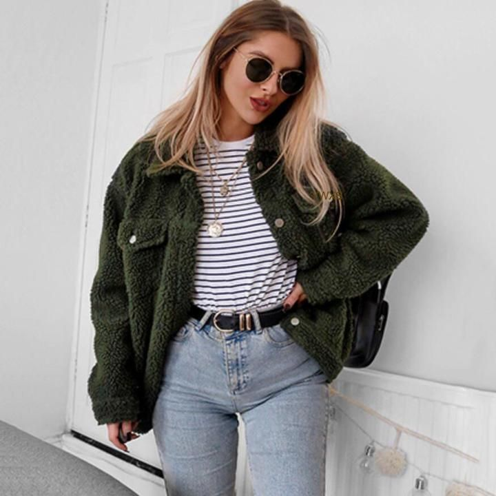 Autumn And Winter Fashion Versatile Button Lapels Pocket Long Sleeve Blouse Plush Jacket