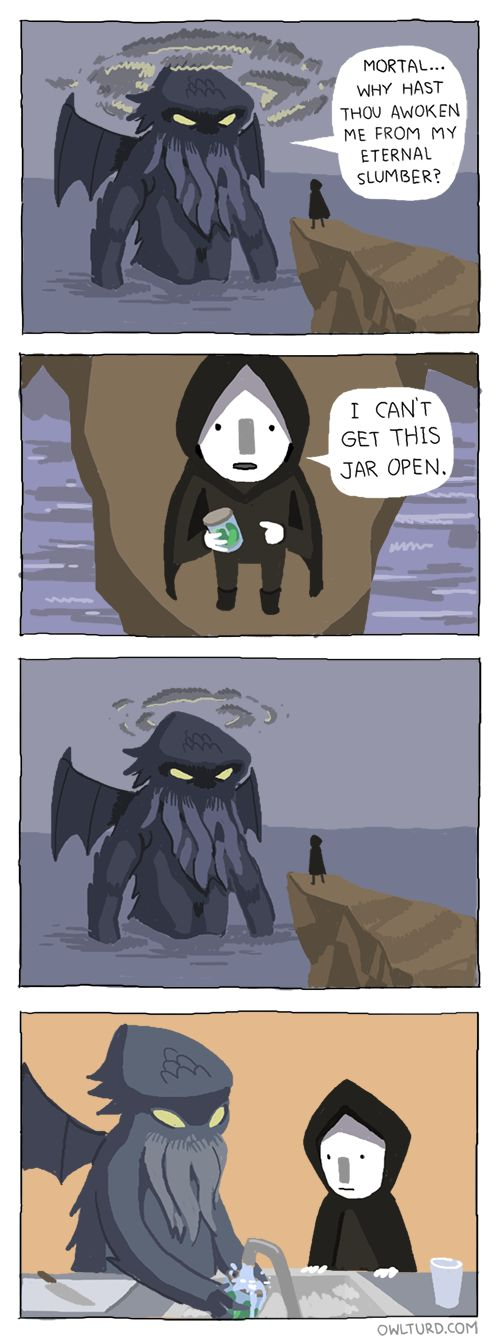The might of Cthulhu by Shenanigansen. http://owlturd.com/post/77029362013/the-might-of-cthulhu-image-fb-twitter