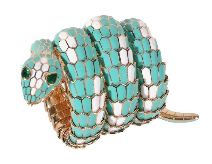 Bulgari enamel and emerald 'Serpenti' bangle wristwatch, 1968. Sold for £84,320 in Dreweatts & Bloomsbury Auctions' Fine Jewellery sale