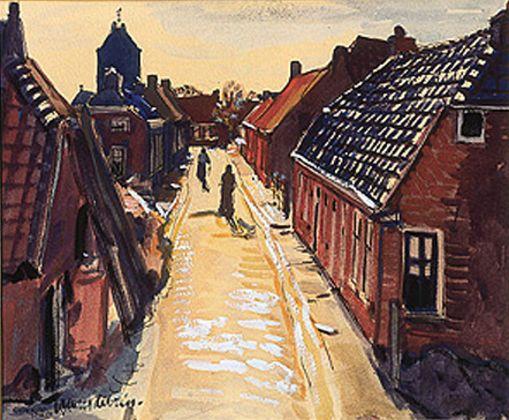 Jannes de Vries - Garnwerd, 1954, gouache, inkt, pen