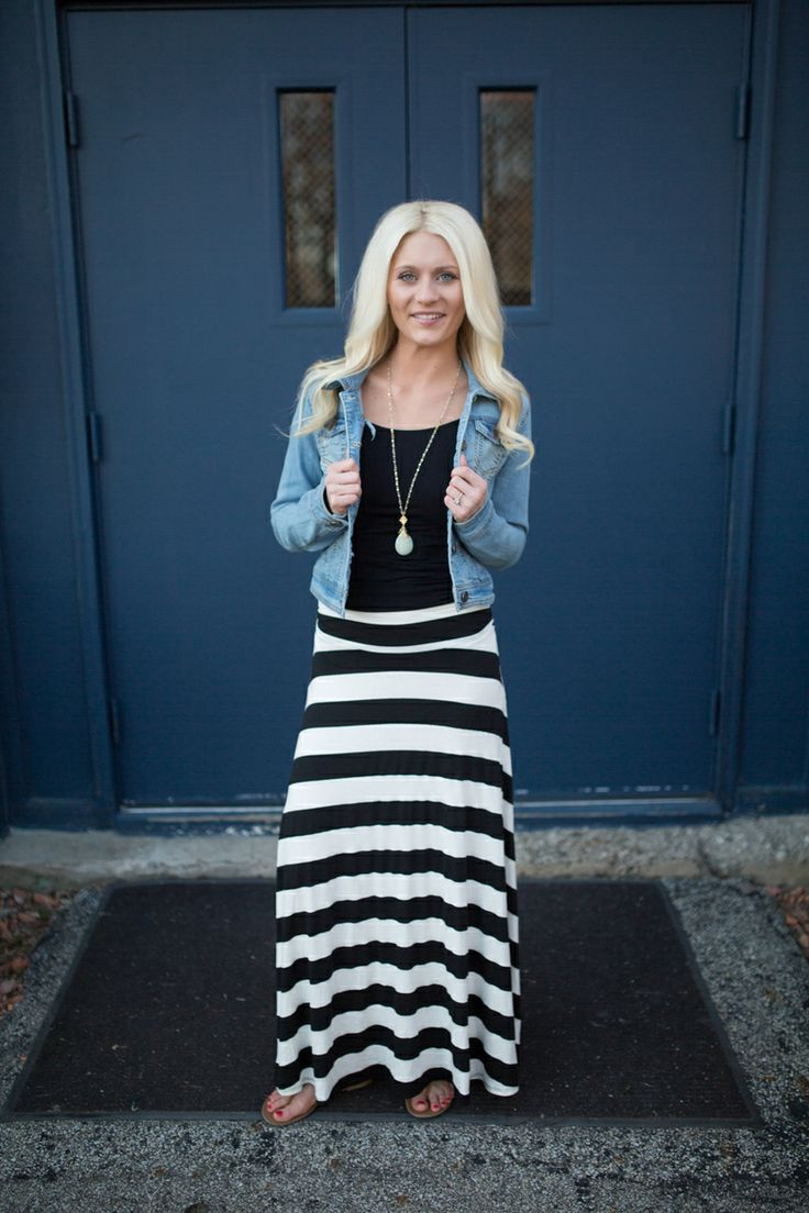 36 best Black & white striped maxi skirt images on Pinterest