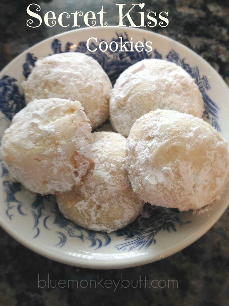 Secret Kiss Cookies - A delectable shortbread cookie with a surprise Hershey's Kiss inside via  Blue Monkey Butt