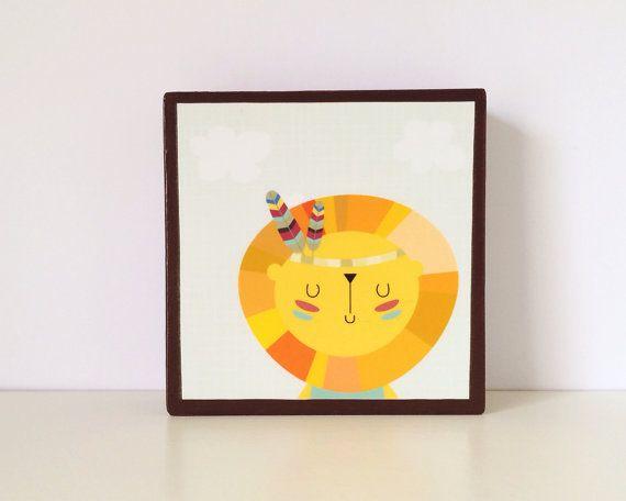 Little Indian Lion Art Block by WoodlingsArt on Etsy, $15.00
