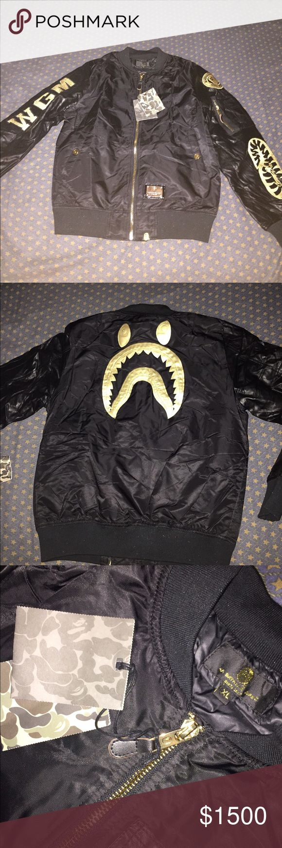 BAPE Black Bomber Jacket BAPE Black Jacket/Gold. Bomber. New . DeadStock . Size XL (Fits like a Large) Bape Jackets & Coats Bomber & Varsity
