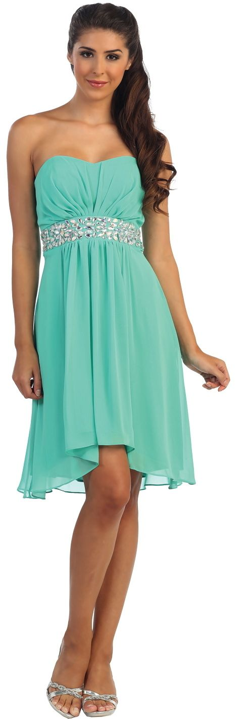Quinceanera Dresses<BR>Bridesmaid Dresses<BR>Evening Dresses under $100<BR>936<BR>Strapless high-low short dress!!