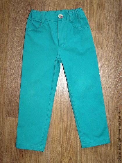 Брючки - брючки для девочки,летние брюки,стрейчивые брюки,бирюзовые брюки
