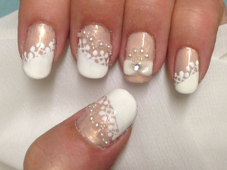 121 best nail art with rhinestones etc images on pinterest july 2013 asymmetric french lace pearl nail inspired by httppinterest prinsesfo Image collections