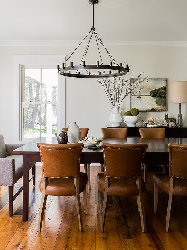 Dining Room With Caramel Colored Leather Chairs