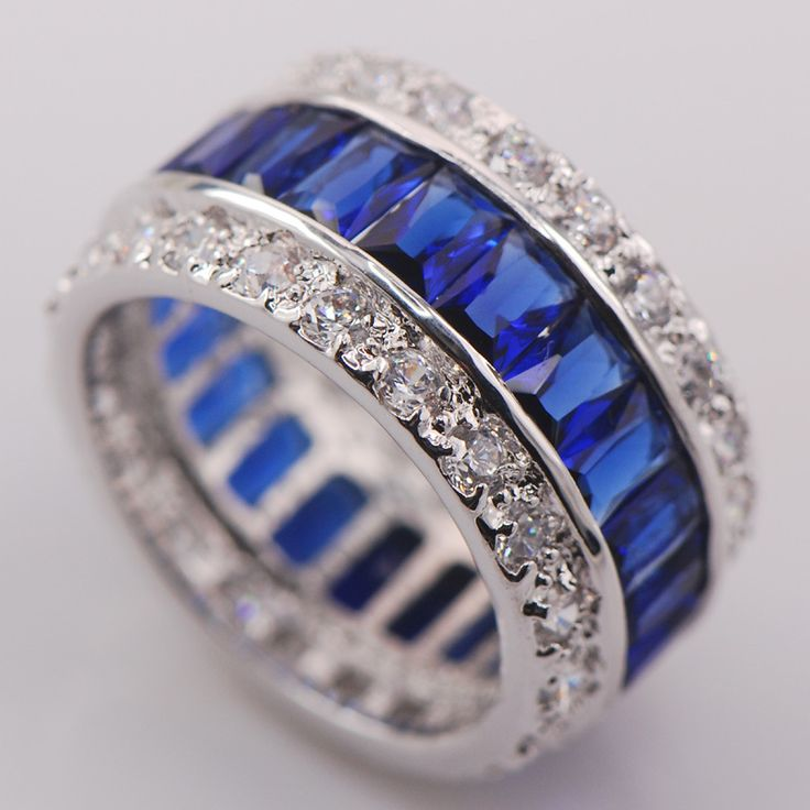 Blue Crystal Zircon Women 925 Sterling Silver Ring F682 Size 6 7 8 9 10
