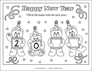 Check out this page for tons of New Year's printable ideas! Includes matching games, coloring sheets, and trivia!