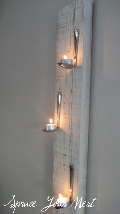DIY Tea Lights on Bent Spoons Wall Art. Hardest thing: bending the spoons. Tutorial at Spruce Your Nest here.