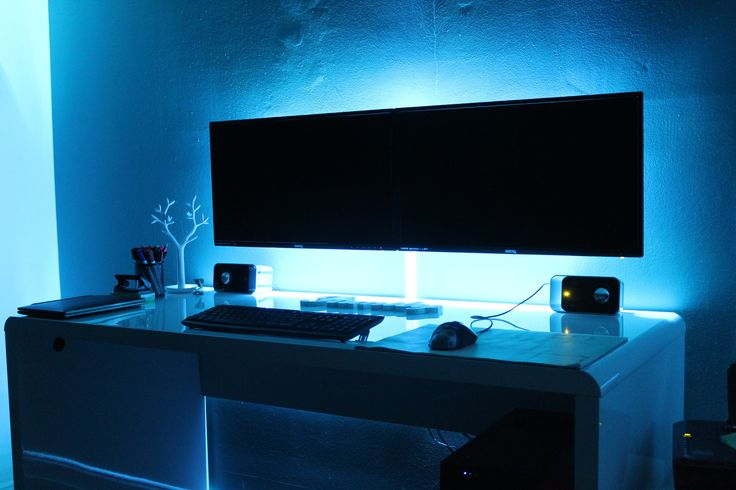 Home Office Dual Desk Setup: LED, Offices And Gaming