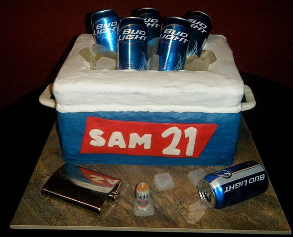 Cooler cake with beer cans for 21st birthday.JPG