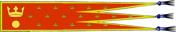 The Oriflamme, the Flame of Lorenzburg, is the ancient banner of the Principality. The flag is a relative of the old french battle standard of the same name.