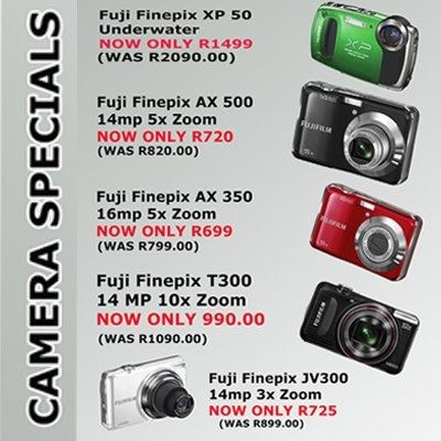 CAMERA SPECIALS  Available from Fotofirst Mossel Bay - speak to our team about all your camera requirements. You can call us on 044 695 2858, or visit us at our Langeberg Mall premises