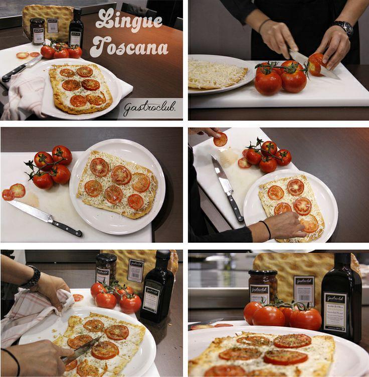 """Con nuestro pan """"Lingue Toscana"""", queso rayado, deliciosas rodajas de tomate natural aderezado con orégano y bañado con nuestro estupendo aceite de oliva obtendrás algo realmente sano y riquísimo!! Con solo unos minutos de horno estará listo para servir."""