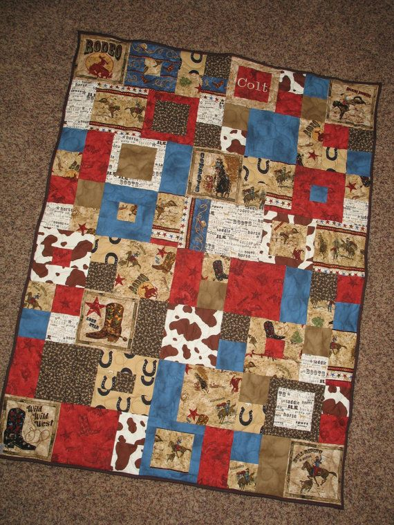 "handmade cowboy quilt | Custom Order - Western, Cowboy, Rodeo Baby Quilt 36""x48 - with ..."