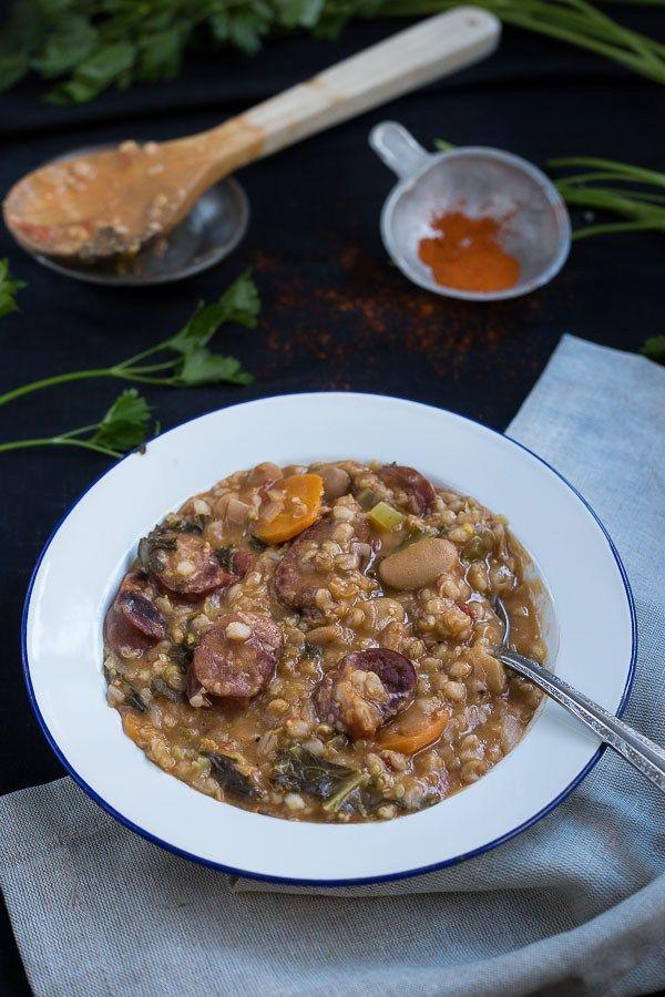 Slovenian Sausage & Vegetable Barley Soup (Ričet)